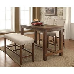 Pemberly Row 4 Piece Counter Height Dining Set in Natural an