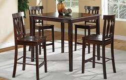 Poundex 5 Piece Counter Height Dining Set in Dark Cappuccino