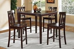 Poundex 5 Piece Counter Height Dining Set, Rich Brown Finish