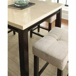 Bowery Hill 5 Piece Counter Dining Set in Ivory Marble