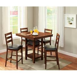 Counter Height Dining Table Set w/ 4 High Top Table Chairs S