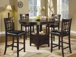 5pc Counter Height Dining Table and Stools Set Dark Cappucci