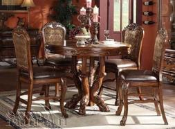 5pc Counter Height Dining Table & Stools Set in Brown Cherry