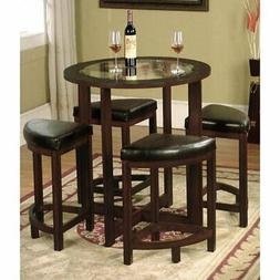 Roundhill Furniture Cylina Round Counter Height Table Set