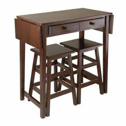 Dark Brown Wooden Kitchen Breakfast Cart Set Dining Table St