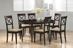 7 pc Dark Cappuccino finish dining room table set with solid