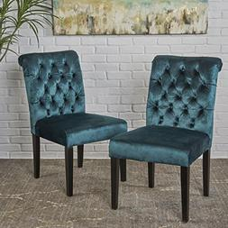Deanna Tufted Teal Velvet Dining Chair with Roll Top