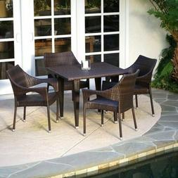 Del Mar | 5 Piece Outdoor Wicker Dining Set with Stacking Ch
