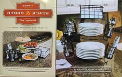 DELUXE Buffet Stack & Serve Buffet Set Picnic Knives Plates