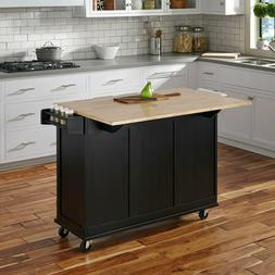 Deluxe Kitchen Island Cart With Large Drop Leaf Wood Top Gre