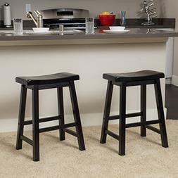Marcy Black Saddle Wood 24-Inch Counter Stool