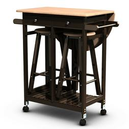 Kitchen Island Breakfast Bar and Stools Dining Bistro Set Ro