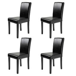 Set of 4 Dining Chair Kitchen Dinette Room Black Leather Bac