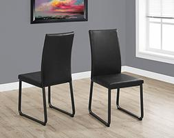 "Monarch Dining Chair - 2Pcs / 38"" H/Black Leather-Look/Black"