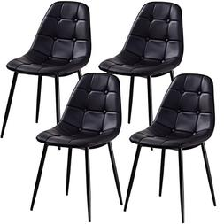 Giantex Set of 4 Dining Chair PU Leather Armless Metel Leg T