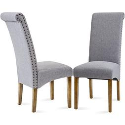 Merax Dining Chairs Set of 2 Fabric Padded Side Chair with S
