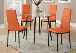 Poundex Dining Chairs Orange Vibrant Faux Leather Seat Set o