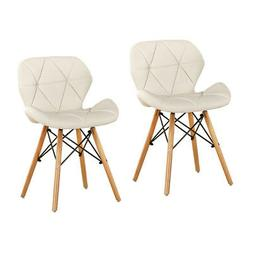 Dining Chairs Set of 2 White PU Leather Office Chairs Dining