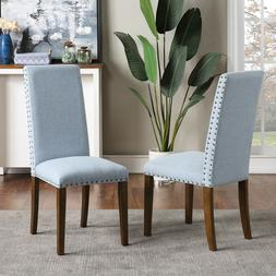 Dining Chairs Set of 2Fabric Dining Chairs with Copper Nails