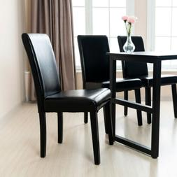 Mecor Dining Chairs Set of 4,Kitchen Leather Chair Black