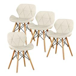Dining Chairs Set of 4 White Office Chairs PU Leather Side C