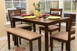 5pc Dining Dinette Table Chairs & Bench Set New Walnut Finis