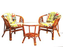 Dining Furniture Set Bahama 2 Chairs w/ Cushion Round Table
