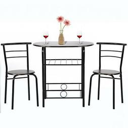 Dining Kitchen Table Dining Set 3 Piece Metal Frame Bar Dini