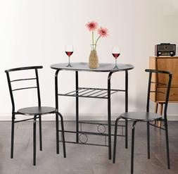 Dining Room Kitchen Table Set,3 Piece Metal Frame Bar, Bre