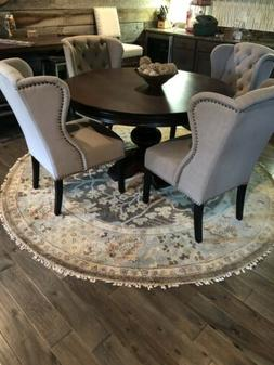 Arhaus dining room set 6 chairs with round Rug