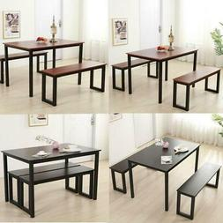Dining Room Set Table and Chairs 2pcs Benches Kitchen Room B