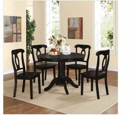 5 Pc Dining Room Set Table Chairs Solid Wood Round Cottage S