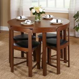 Dining Set 5 Piece Compact Round Wood Table Padded Chairs Ki