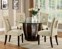 Dining Set 5 Piece Round Glass Table Top 4 Upholstered Padde