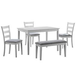 Monarch Specialties I 1210, Dining Set with a Bench and 3 Si