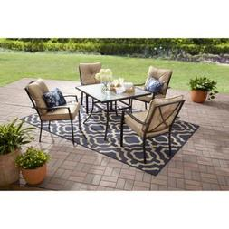 5-Piece Dining Set, Four Cushioned Chairs, Powder-Coated Ste