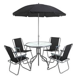 Palm Springs Outdoor Dining Set with Table, 4 Chairs and Umb