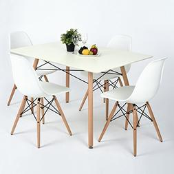 FurnitureR Dining Set Set of 4 Chairs & Square Table Modern