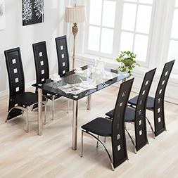 4 Family 7 Piece Dining Set Glass Table /6 Leather Chairs Ki