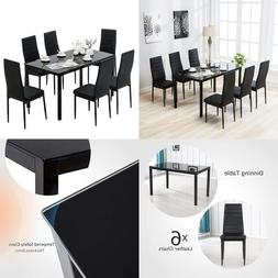 Mecor Dining Set, Glass Top Table With 6 Leather Chairs Kitc
