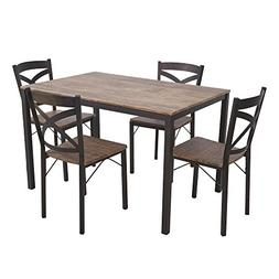 Dporticus 5-Piece Dining Set Industrial Style Wooden Kitchen