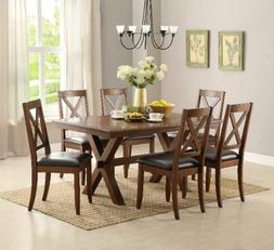7 Piece Dining Set Maddox Table Chairs Wood Room Furniture T