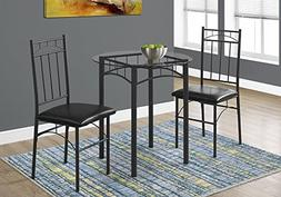 Monarch Specialties Dining Set - 3Pcs Set / black Metal / Te