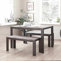 Zenvida Dining Set Table and Two Benches Modern Style, Seats