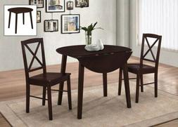 3-Piece Kings Brand Dining Set, Cappuccino Dinette Drop Leaf