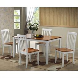 Bowery Hill 5 Piece Dining Set in White/Honey Oak