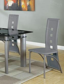 Poundex Dining Side Chair Long Back Metal Frame Legs Grey Fa