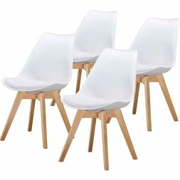 Dining Side Chairs Durable PU Cushion with Solid Wooden Legs