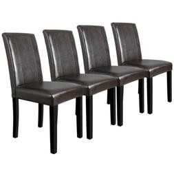 Dining Parson Chairs Set of 4 High Brown PU Leather Elegant