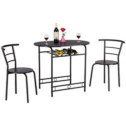 Giantex 3 PCS Dining Table and 2 Chairs Kitchen Breakfast Pu